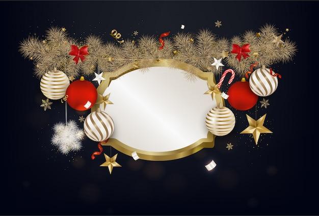Carte de voeux de noël avec des boules colorées, étoile 3d dorée, flocons de neige, branches de sapin, lumières, confettis.