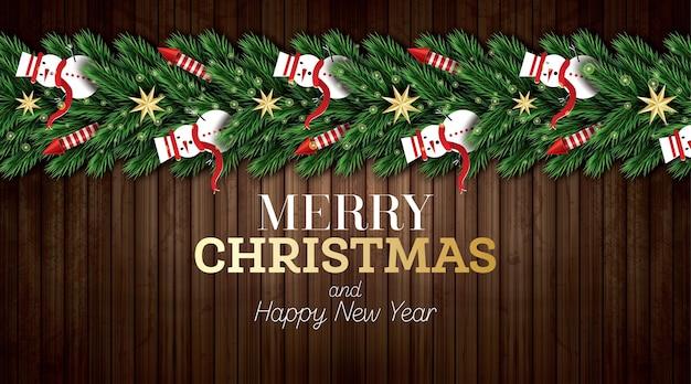 Carte de voeux de noël avec des branches d'arbres de noël, des fusées rouges et des bonhommes de neige sur fond de bois. joyeux noël. bonne année. illustration vectorielle.