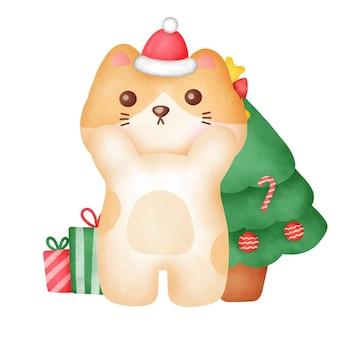 Carte de voeux de noël avec un chat mignon dans un style aquarelle.