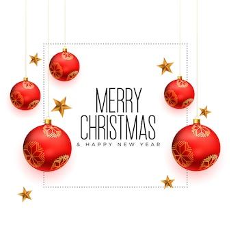 Carte De Voeux De Noël Avec Décoration De Boules Réalistes Vecteur gratuit