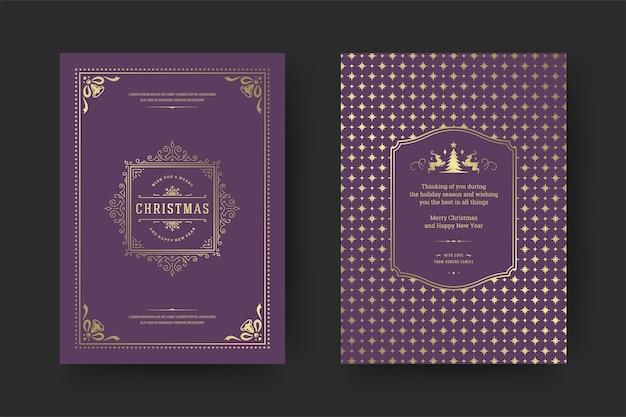 Carte de voeux de noël design typographique vintage symboles de décoration ornés avec des vacances d'hiver souhaitent