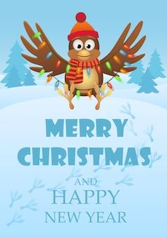 Carte de voeux de noël et du nouvel an avec le hibou volant avec guirlande dans la forêt bleue de l'hiver.