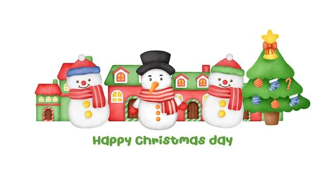 Carte de voeux de noël et du nouvel an avec un joli bonhomme de neige.