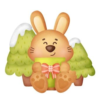 Carte de voeux de noël et du nouvel an avec un lapin mignon dans un style aquarelle.