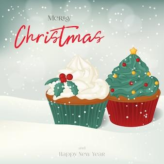 Carte de voeux de noël, fond, affiche avec des cupcakes sucrés dans la neige.