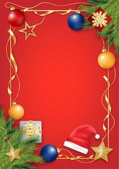 Carte de voeux de noël sur fond rouge avec décoration