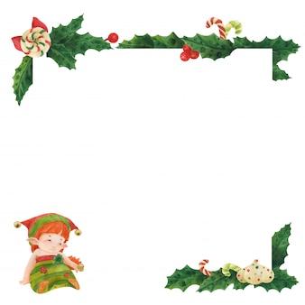Carte de voeux de noël avec houx et elfe princesse avec anneau en zéfir
