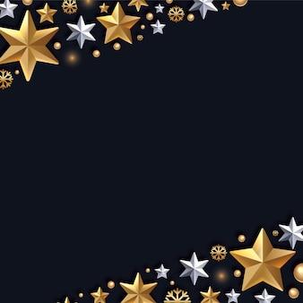 Carte de voeux de noël et nouvel an avec bordure décorative en or et blanc étoiles argent
