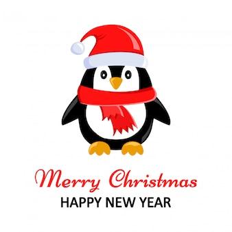 Carte de voeux de noël avec pingouin mignon. illustration vectorielle