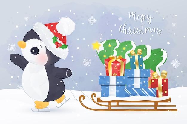 Carte de voeux de noël avec pingouin mignon