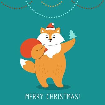 Carte de voeux de noël, renard avec arbre et sac de père noël renard roux du nouvel an en chapeau de père noël