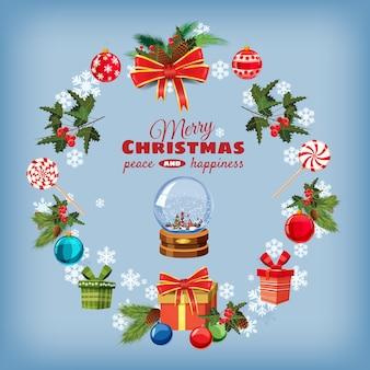 Carte de voeux de noël sertie de branches de pin, décorations, bonbons, rubans, boule à neige, boîtes de cadeaux
