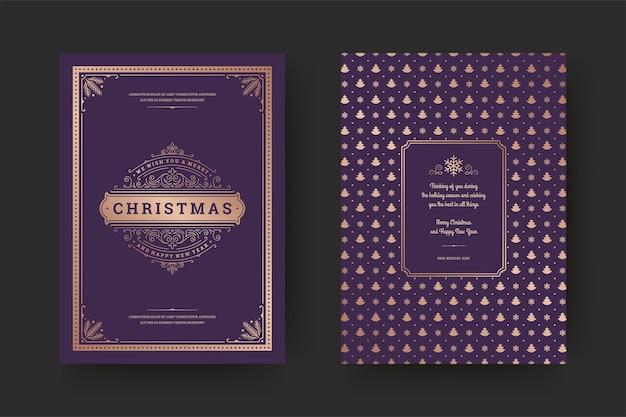 Carte de voeux de noël vintage symboles de décorations typographiques et ornées avec souhait de vacances d'hiver, ornements et cadre.