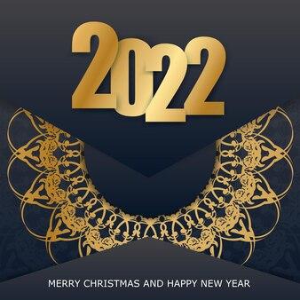 Carte de voeux noire de bonne année 2022 avec le modèle luxueux d'or