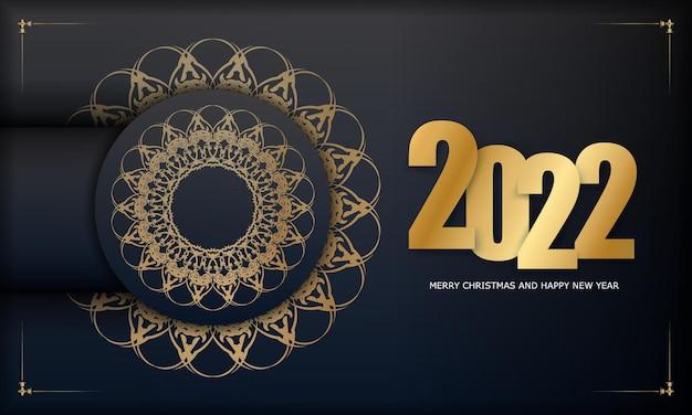 Carte de voeux noire joyeux noël 2022 avec motif doré de luxe