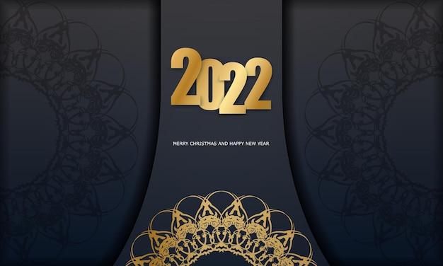 Carte de voeux noire joyeux noël 2022 avec motif doré vintage