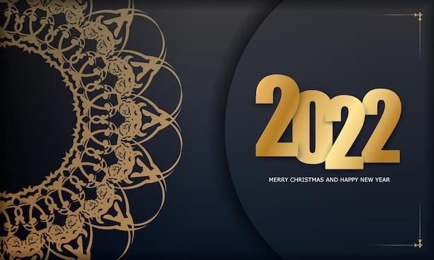 Carte de voeux noire joyeux noël 2022 avec ornement d'or d'hiver