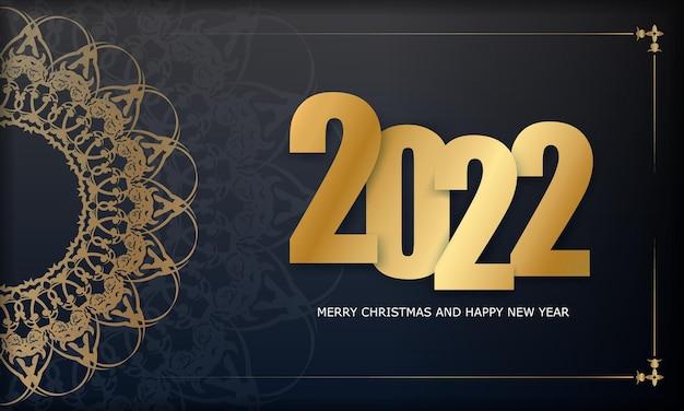 Carte de voeux noire joyeux noël 2022 avec ornement en or vintage