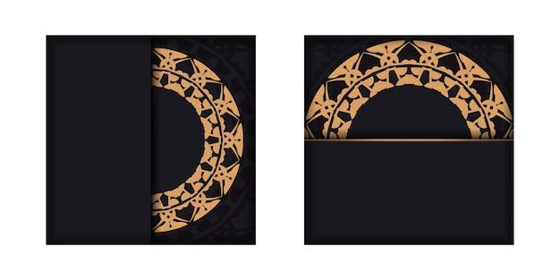 Carte de voeux noire avec ornement indien marron