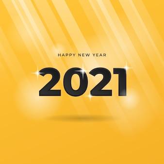 Carte de voeux de nouvel an 2021 avec éclat