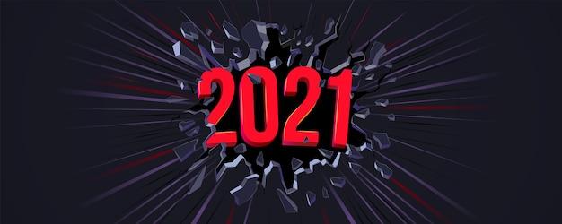 Carte de voeux de nouvel an 2021. texte 3d. fissure noire dans le mur noir et ligne dynamique. bannière web, flyer, arrière-plan, affiche pour la célébration de la fête du nouvel an 2021. fond dynamique.