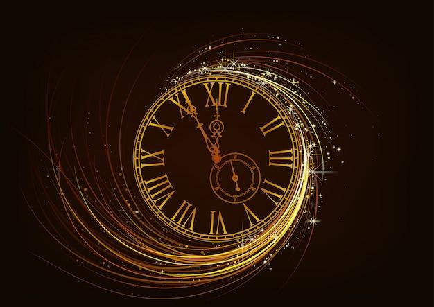 Carte de voeux de nouvel an avec cadran d'horloge mousseux
