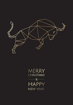 Carte de voeux avec nouvel an et noël 2021 année du taureau.