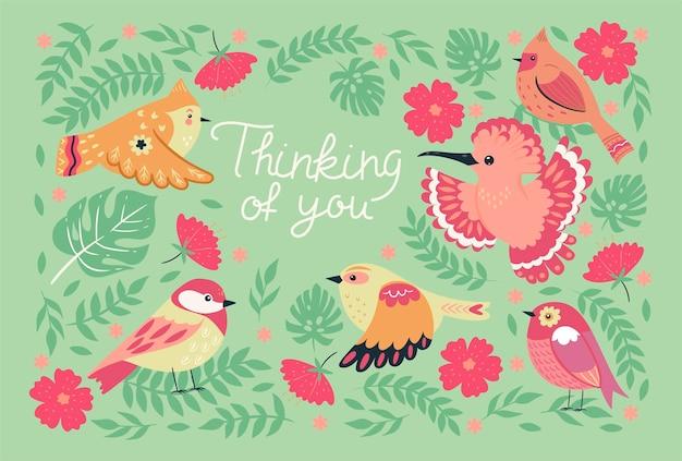Carte de voeux avec des oiseaux et les mots pensant à vous