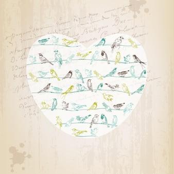 Carte de voeux d'oiseaux de la saint-valentin