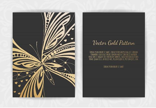 Carte de voeux en or sur fond noir