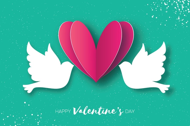 Carte de voeux origami happy valentine's day