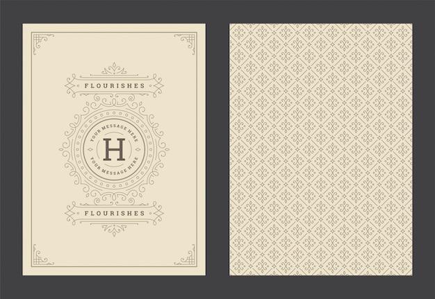 Carte de voeux d'ornement vintage tourbillons ornés calligraphiques et vignettes cadre design vecteur