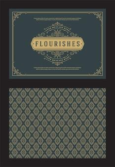 Carte de voeux ornement vintage tourbillons ornés calligraphiques et vignettes