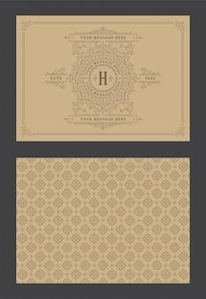 Carte de voeux ornement vintage vignettes ornées calligraphiques modèle de vecteur de conception de cadre