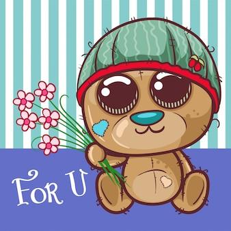 Carte de voeux ours mignon dessin animé avec une fleurs - vecteur