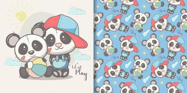 Carte de voeux panda mignon de bande dessinée avec un motif sans soudure