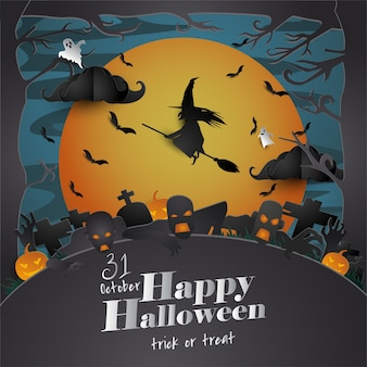 Carte de voeux papier art halloween