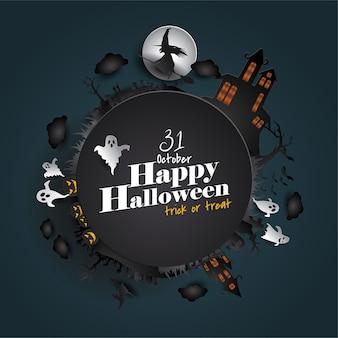 Carte de voeux papier halloween heureux