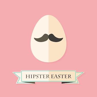 Carte de voeux de pâques hipster avec oeuf avec moustache. illustration de style plat
