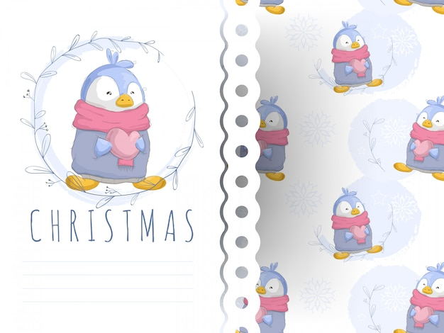 Carte de voeux pingouin dessin animé mignon et modèle sans couture