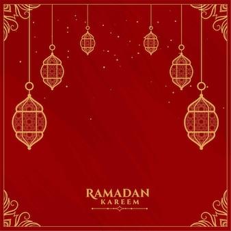 Carte de voeux plat décoratif rouge ramadan kareem