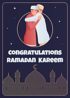 Carte de voeux plate de ramadan avec deux musulmans étreignants et silhouette de mosquée