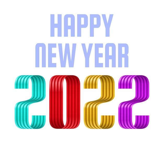 Carte de voeux de police de ruban de bonne année 2022. nouvel an et noël conception de calendrier, de cartes de vœux ou d'impression. arrière-plans tendance design minimaliste.