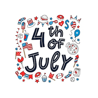 Carte de voeux pour le 4 juillet avec des gribouillis