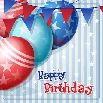 Carte de voeux pour anniversaire avec des ballons et des drapeaux