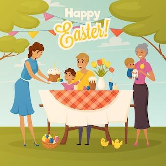 Carte de voeux pour le dîner de pâques en famille