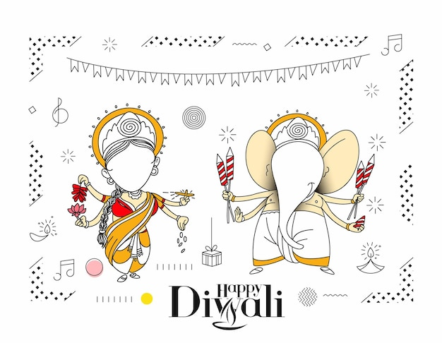 Carte de voeux pour le festival hindou de diwali, illustration vectorielle de dessin au trait dessiné à la main.