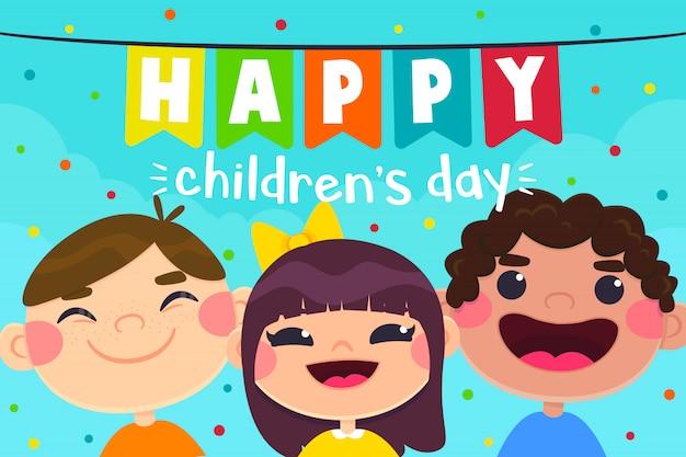Carte de voeux pour la fête des enfants, personnages pour enfants