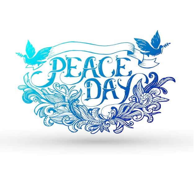 Carte de voeux pour la fête de la paix. calligraphie avec ornement de décor abstrait.