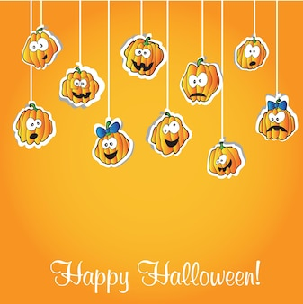 Carte de voeux pour halloween - illustration vectorielle drôle